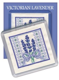 Textile Heritage Victorian Lavender Coaster Counted Cross Stitch Kit