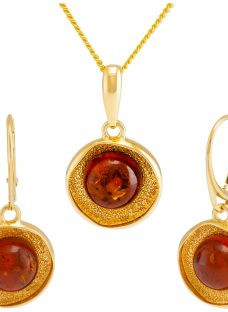 Be-Jewelled Amber Textured Round Pendant Necklace and Drop Earrings Gift Set