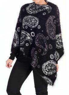 Chesca Knitted Paisley Poncho