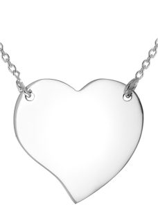 IBB Personalised Sterling Silver Drawn Heart Necklace