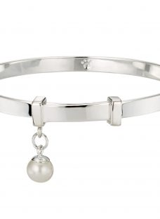 Molly Brown London Sterling Silver My 1st Pearl Christening Bangle