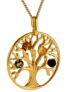 Be-Jewelled Tree Of Life Amber Pendant Necklace