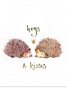Louise Mulgrew Hogs and Kisses Valentine's Day Card