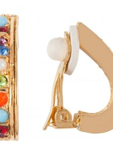Susan Caplan Vintage D'Orlan 22ct Gold Plated Faux Pearl and Swarovski Crystal Demi Hoop Clip-On Earrings