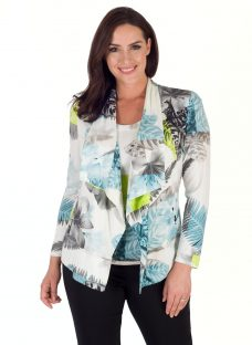 Chesca Fern And Floral Jersey Shrug