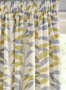 John Lewis Lina Leaf Pair Thermal Lined Pencil Pleat Curtains
