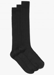 John Lewis Made in Italy Wool Blend Ribbed Long Socks