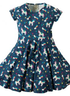 Frugi Organic Girls' Magical Rainbow Unicorn Spring Skater Dress