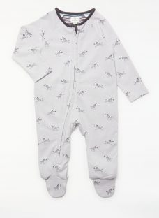 John Lewis Baby GOTS Organic Cotton Zebra Zip Up Sleepsuit