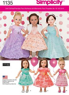 Simplicity 18 Doll Formal Clothes Sewing Pattern