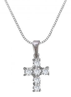 Nina B 9ct White Gold Cubic Zirconia Cross Pendant Necklace