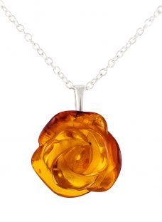 Be-Jewelled Rose Amber Pendant Necklace