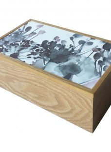 Croft Collection Wooden Oak Jewellery Box with Flower Print Lid