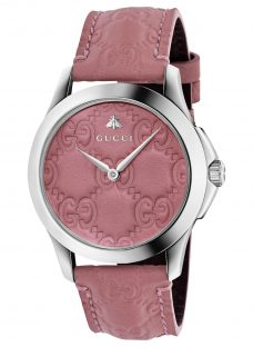 Gucci YA1264030 Unisex G-Timeless Signature Leather Strap Watch