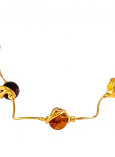 Be-Jewelled Amber Snake Chain Necklace