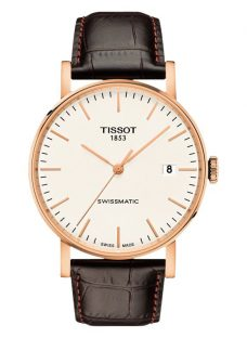 Tissot T1094073603100 Men's Everytime Automatic Date Leather Strap Watch