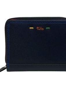 Tula Violet Leather Small Zip Around Wallet Purse