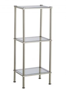 John Lewis 3 Tier Rust Resistant Stainless Steel and Glass Slim Shelving Unit
