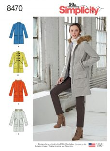 Simplicity Women's Lined Coat with Collar/Hood & Pocket Variations Sewing Pattern