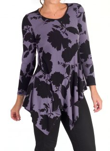 Chesca Hyacinth Floral Print Tunic Top