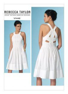 Vogue Rebecca Taylor Women's Flared Cut Out Detail Summer Dress Sewing Pattern