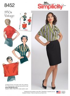 Simplicity 1950s Vintage Women's Blouse Sewing Pattern