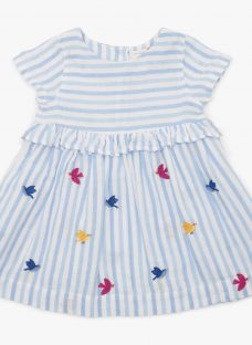 John Lewis & Partners Baby Bird and Stripe Dress