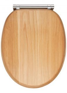 John Lewis & Partners FSC Oak Antibacterial Soft Close Toilet Seat