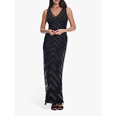 Adrianna Papell Beaded V Neck Sleeveless Gown