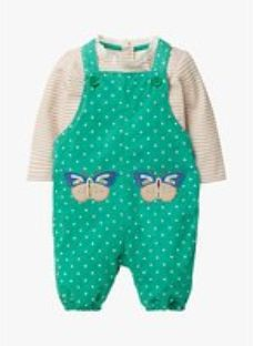 Mini Boden Baby Butterfly Appliqué Patch Dungaree Set