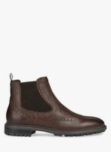 Geox Brenson Brogue Detail Leather Chelsea Boots